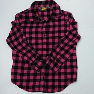 Girl's Nubby Flannel Buffalo Plaid Shirt L